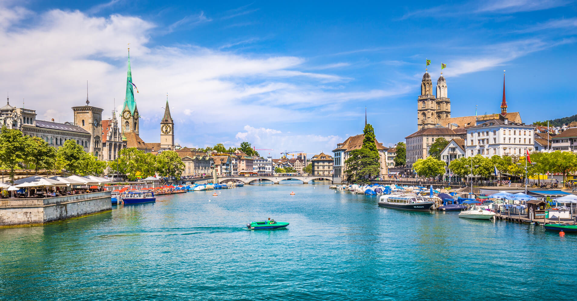 Zürich city center with river Limmat, Switzerland